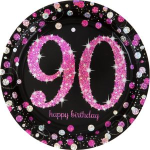 Prismatic 90th Birthday Lunch Plates 8ct - Pink Sparkling Celebration