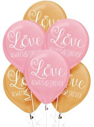Gold & Pink Sparkling Wedding Balloons 6ct