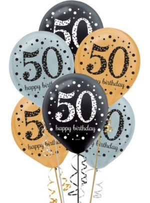 50th Birthday Balloons 15ct - Sparkling Celebration