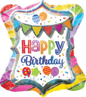 Prismatic Happy Birthday Balloon