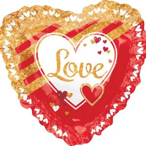 Giant Gold & Red Love Heart Balloon