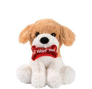 Brown & White I Woof You Dog Plush