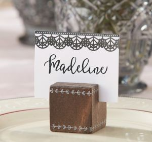 Black Lace Wood Cube Place Card Holders