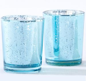 Light Blue Mercury Tealight Candle Holders