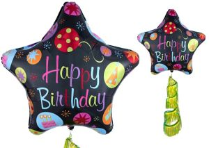 Giant Happy Birthday Star Balloon with Fringe Tail
