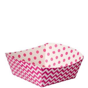 Bright Pink Polka Dot & Chevron Square Paper Food Trays 16ct