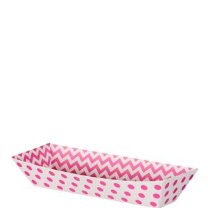 Small Bright Pink Polka Dot & Chevron Rectangular Paper Food Trays 16ct