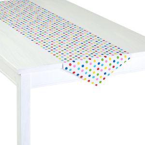 Bright Rainbow Polka Dot Table Runner Roll