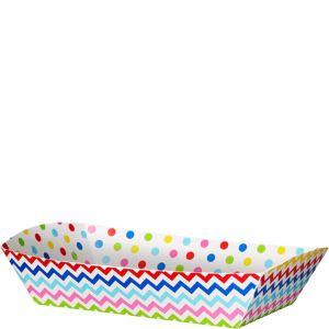 Bright Rainbow Polka Dot & Chevron Rectangular Paper Food Trays 16ct