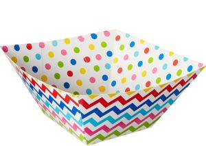Bright Rainbow Polka Dot & Chevron Serving Bowls 3ct
