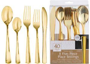 Gold Premium Plastic Five-Piece Cutlery Set 40ct