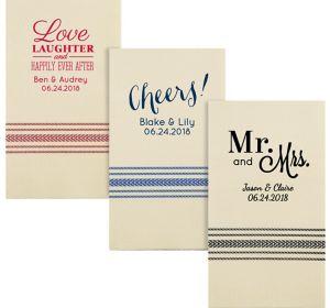 Personalized Wedding Herringbone Guest Towels