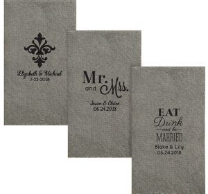 Personalized Wedding Tweed Print Guest Towels