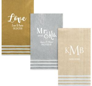 Personalized Wedding Stripe Border Guest Towels