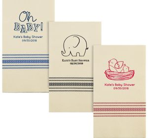 Personalized Baby Shower Herringbone Guest Towels