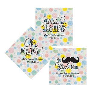 Personalized Baby Shower Pastel Dots Lunch Napkins