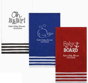 Personalized Baby Shower Stripe Border Guest Towels