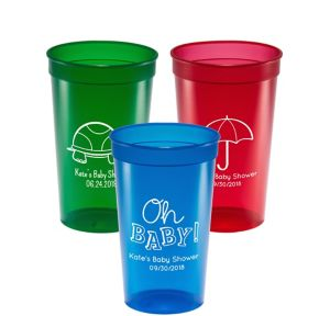 Personalized Baby Shower Translucent Plastic Stadium Cups 22oz