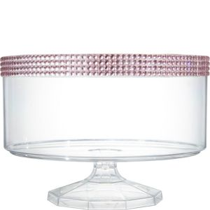 Large Pink Rhinestone Clear Plastic Trifle Container