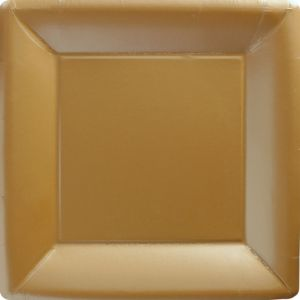 Big Party Pack Gold Paper Square Dinner Plates 50ct