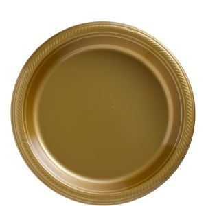 Big Party Pack Gold Plastic Lunch Plates 50ct