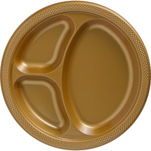 Big Party Pack Gold Plastic Divided Dinner Plates 50ct