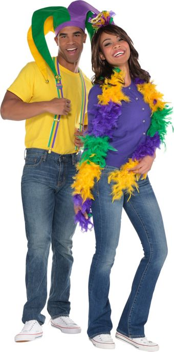 Adult Jester Mardi Gras Couples Accessory Kit