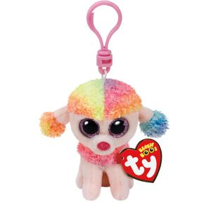 Clip-On Rainbow Beanie Boo Poodle Dog Plush
