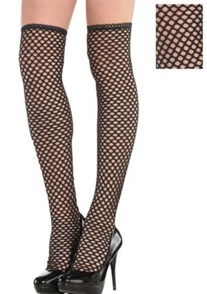 Adult Black Fishnet Knee Socks