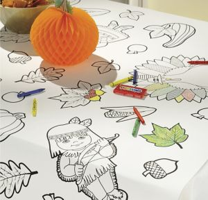 Coloring Thanksgiving Paper Table Cover