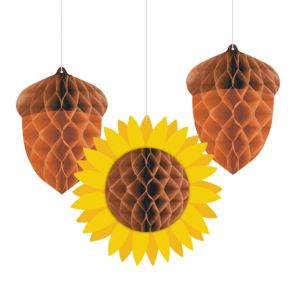Acorns & Sunflower Honeycomb Balls 3ct