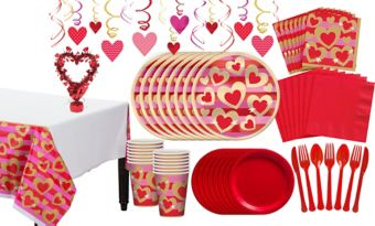 Heart of Gold Valentine's Day Tableware Kit for 16 Guests