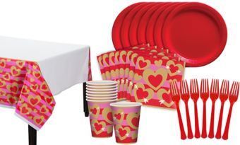 Heart of Gold Valentine's Day Classroom Tableware Kit for 32 Guests