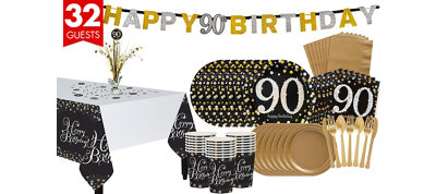 90th Birthday Sparkling Celebration Party Kit for 32 Guests
