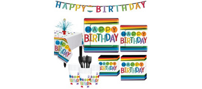Rainbow Birthday Party Kit for 32 Guests