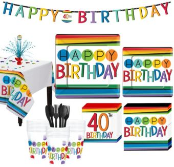 Rainbow 40th Birthday Party Kit for 32 Guests