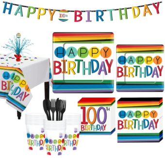 Rainbow 100th Birthday Party Kit for 32 Guests