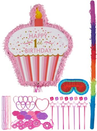 Pink Cupcake 1st Birthday Pinata Kit with Favors