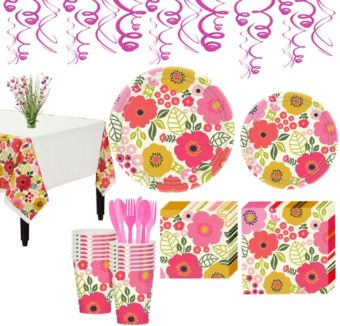 Coral Floral Tableware Kit for 16 Guests