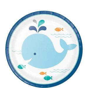 Blue Baby Whale Dessert Plates 8ct
