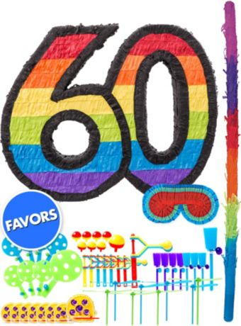Rainbow Number 60 Pinata Kit with Favors