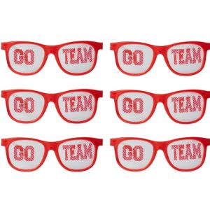 Red Go Team Printed Glasses 12ct