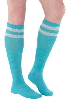 Turquoise Stripe Athletic Knee-High Socks