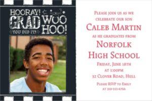 Custom Chalk Hooray Graduation Photo Invitation