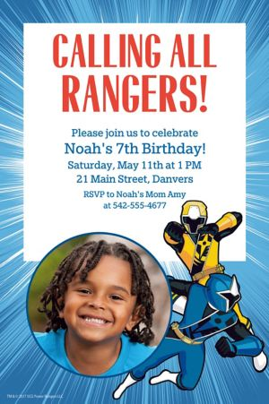 Custom Power Rangers Ninja Steel Photo Invitation