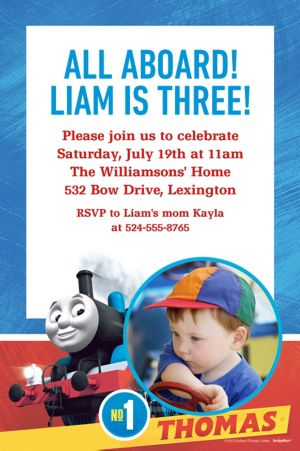 Custom Thomas the Tank Engine Photo Invitation