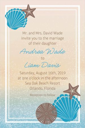 Custom Seashell Beach Invitation