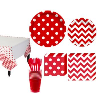 Red Polka Dot & Chevron Paper Tableware Kit for 16 Guests