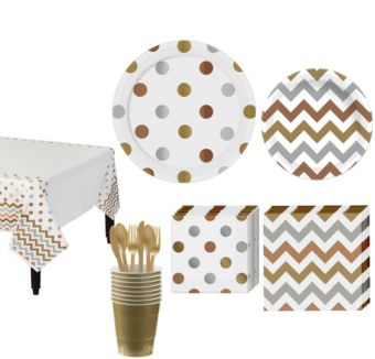 Gold Polka Dot & Chevron Paper Tableware Kit for 16 Guests