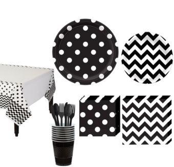 Black Polka Dot & Chevron Paper Tableware Kit for 16 Guests